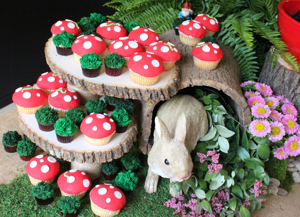 Woodland Theme Party  with Mushroom Cupcakes on the Log Risers
