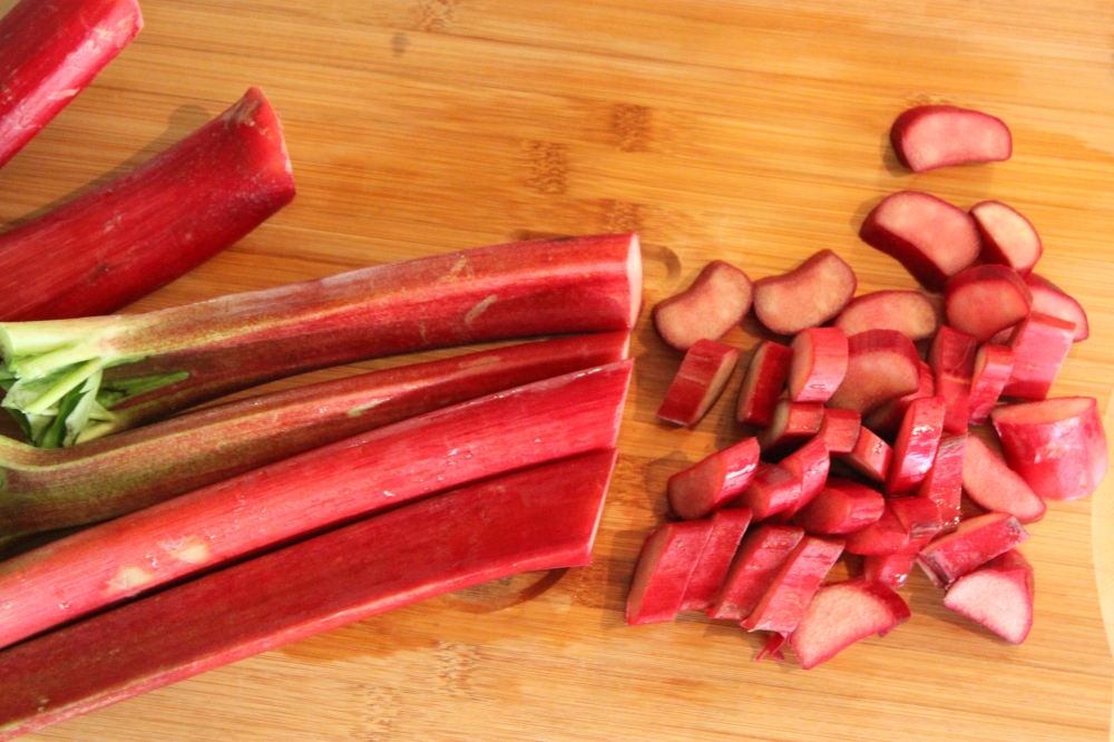 Chopped Fresh and Ripe Rhubarb for Making Simple Syrup