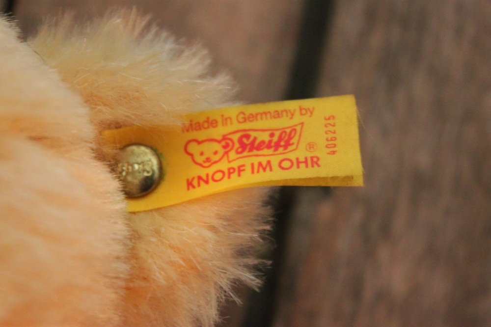 Genuine Steiff Yellow Tag on the Teddy Bear's Ear