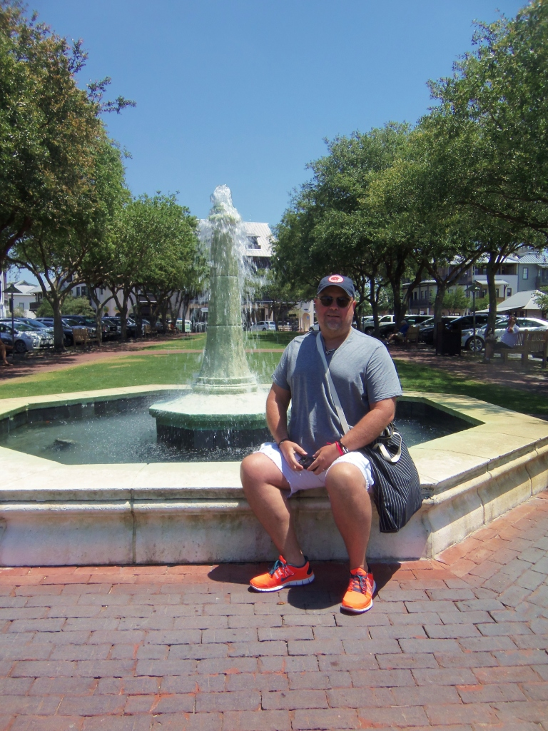 Jamie in front of the Rosemary Beach Fountain