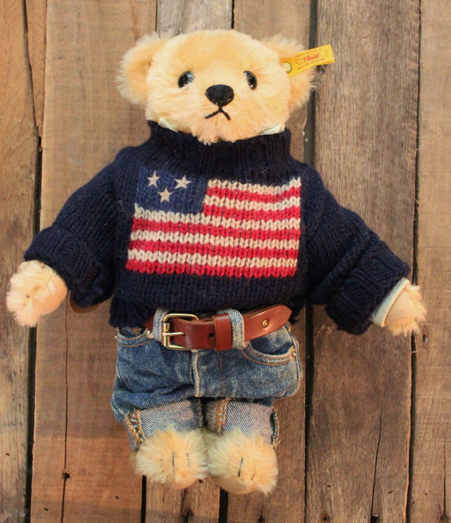 Ralph Lauren Steiff Teddy Bear in American Flag Sweater