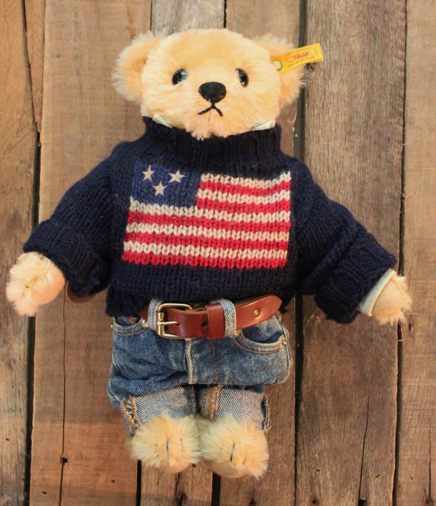 Ralph Lauren Steiff Teddy Bear in American Flag Sweater