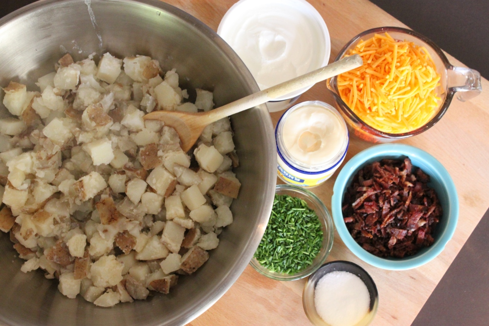 All the Ingredients for Loaded Baked Potato Salad
