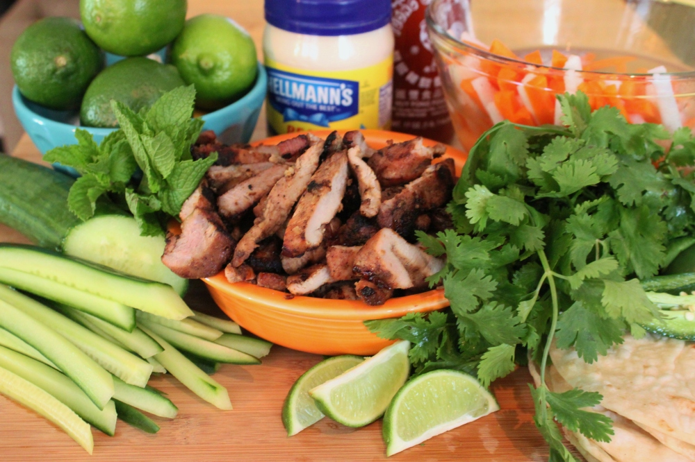 All the Ingredients to Assemble Banh-Mi Tacos