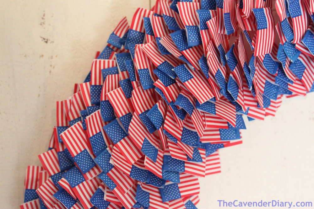 Close-up of American Flag Toothpick Wreath
