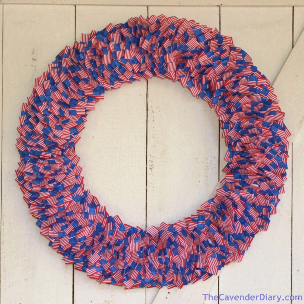 Finished American Flag Toothpick Wreath from the Cavender Diary
