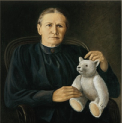 Portrait of Margarete Steiff and one of her Bears