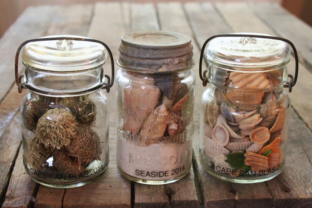 Vintage Canning Jars Filled with Found Beach Treasures from Our Florida Trip