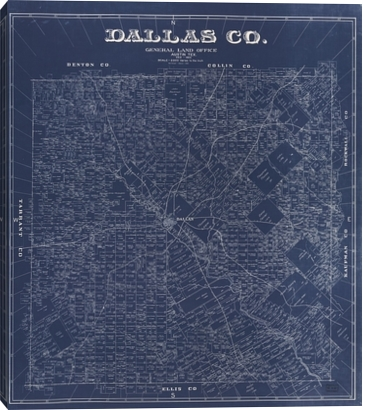 1884 Map of Dallas on Canvas from Gallery Direct