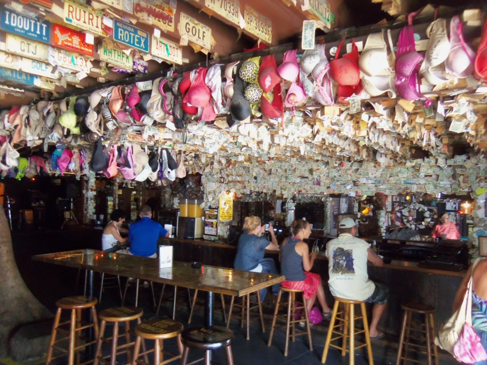 Bras Galore Hanging from the Ceiling of Captain Tony's
