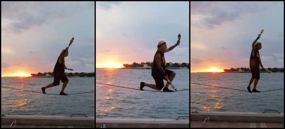 Carny Walking a Tight Rope in Key West Collage