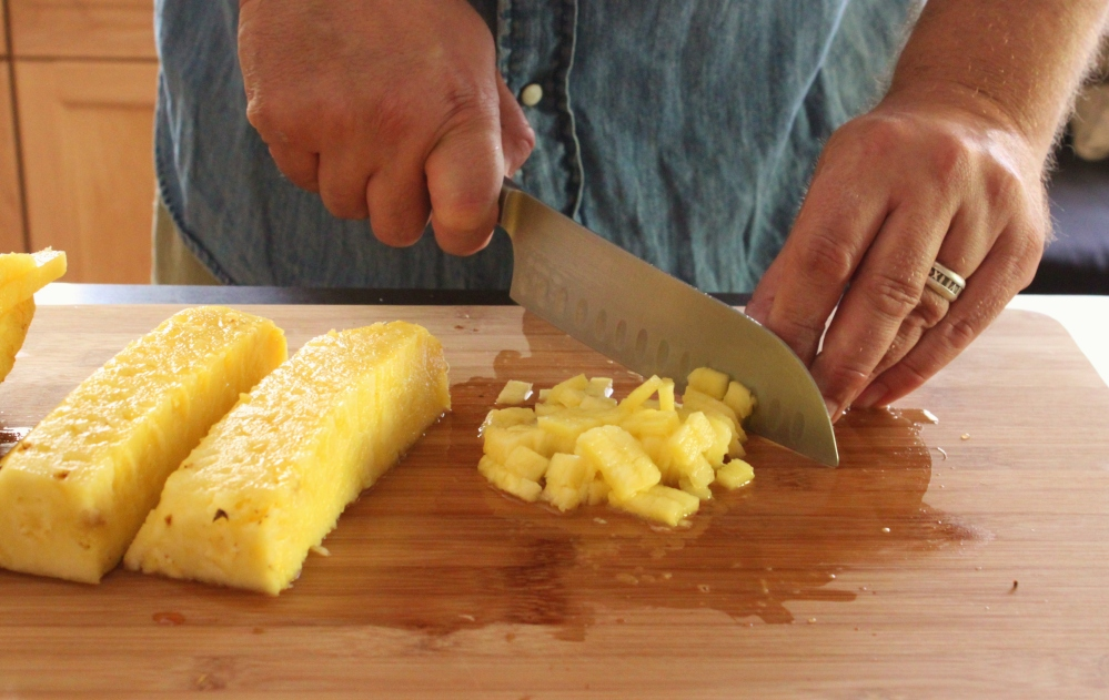 Dice the Pineapple Slices into Corn Kernel Sized Pieces