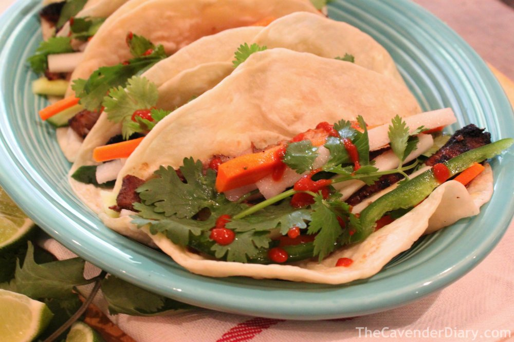 Grilled Pork Vietnamese Style Banh-Mi Tacos from the Cavender Diary