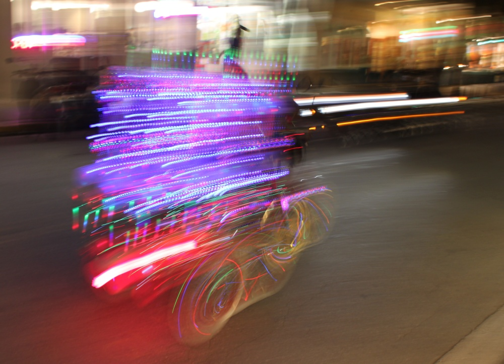 "The ""Light Brite"" Bike Goes Speeding By"