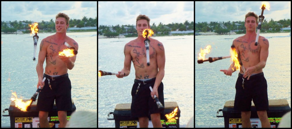 Key West Carny Juggling Fire Collage