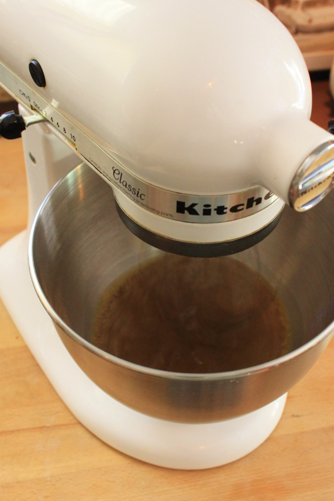 Mix Milk, Brown Sugar, and Molasses in Mixer