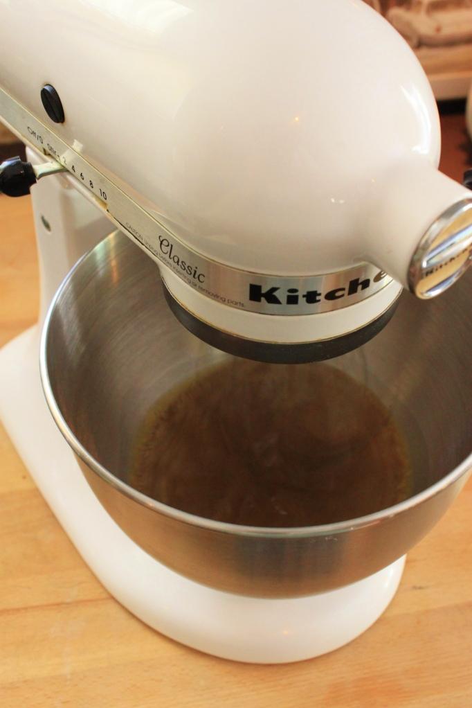 Mix Milk, Brown Sugar, and Molasses in Mixer