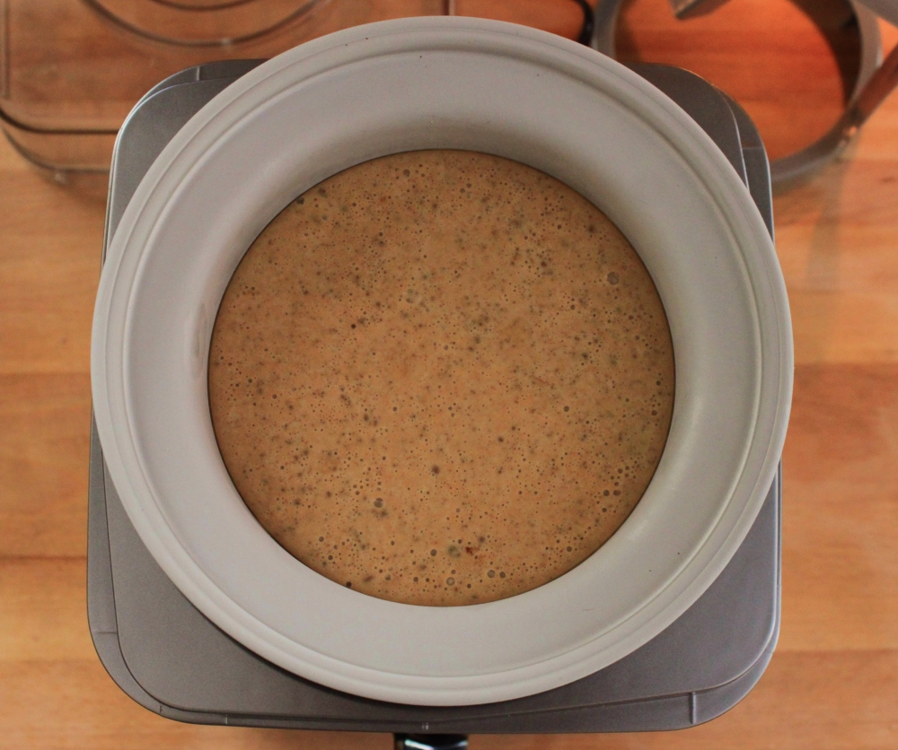Put Pumpkin Pie Ice Cream Mixture in Electric Ice Cream Maker