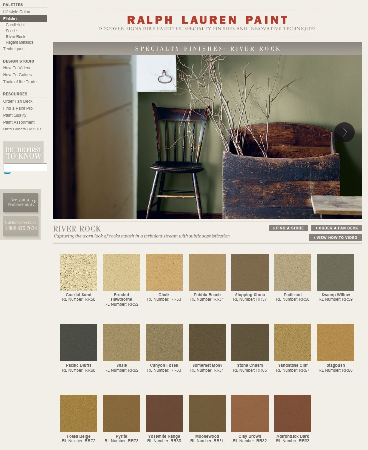 Ralph Lauren River Rock Colors on the RL Home Website