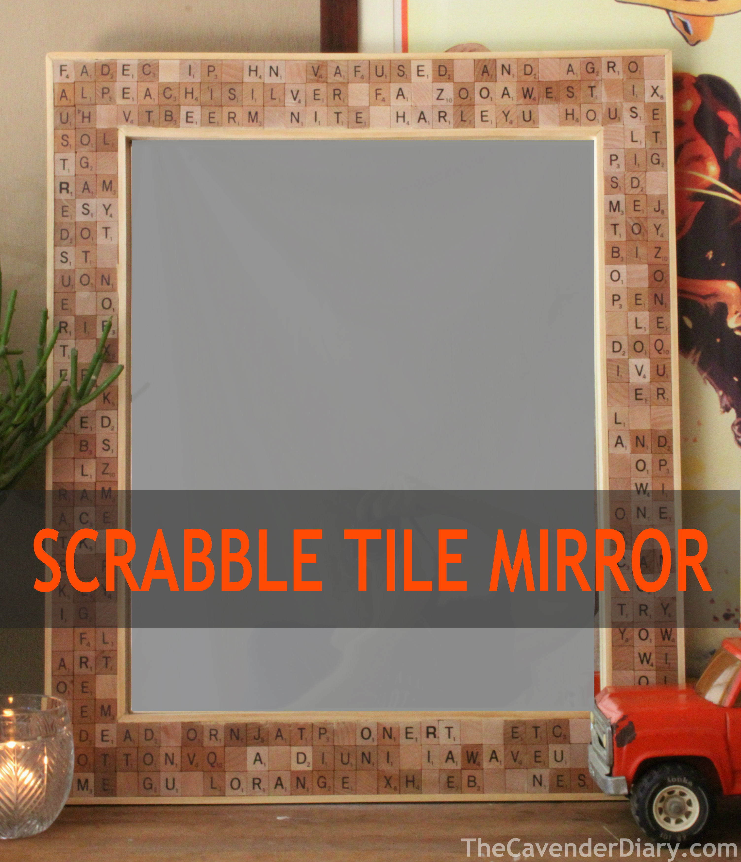 Scrabble tile mirror project from the cavender diary