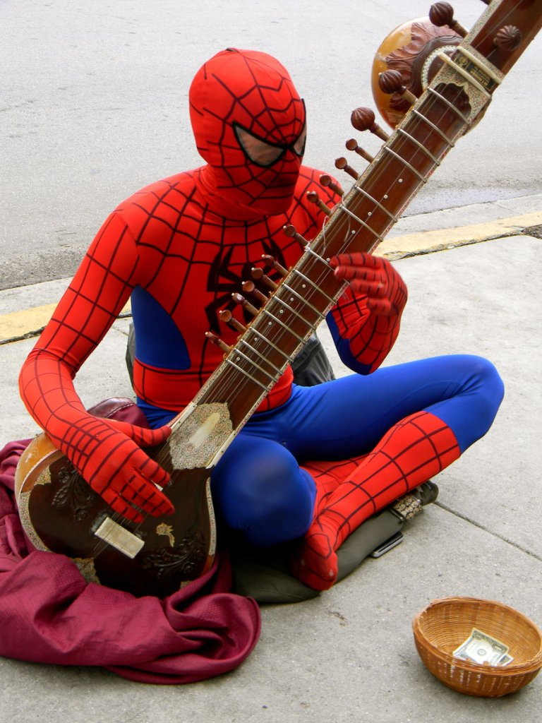 Spiderman Playing the Sitar on Key West Street