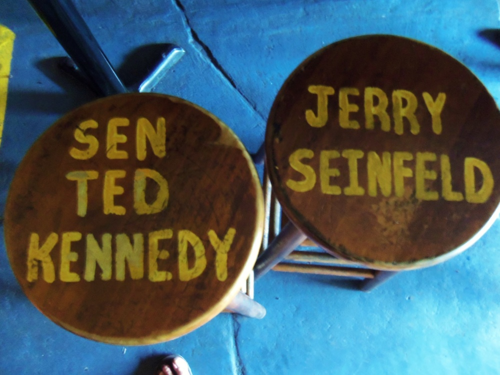 Ted Kennedy and Jerry Seinfeld Stools at Captin Tony's