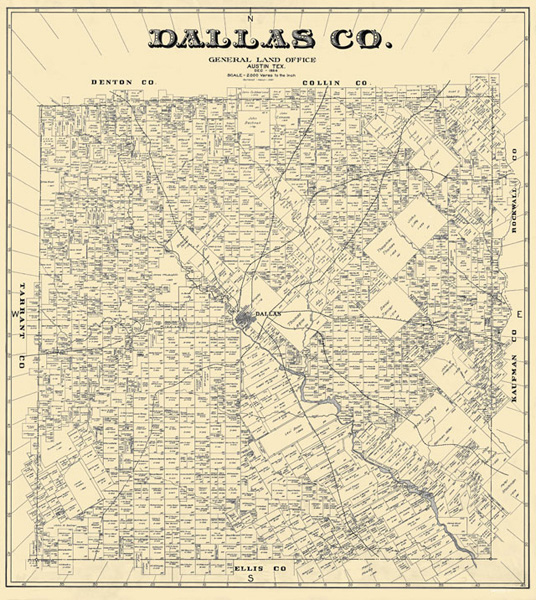 Unframed 1884 Map of Dallas County from eBay