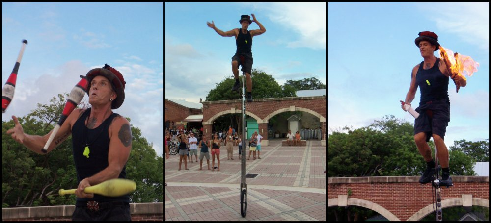 Unicycle Juggler Carny in Key West Collage