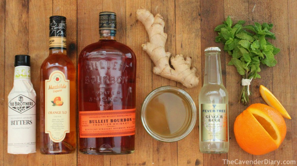 All the Ingrdients for Bourbon-Ginger Punch