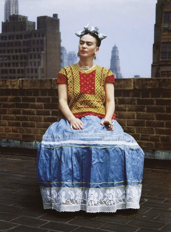 Frida Kahlo Photographed on a New York Roof Top During a Visit