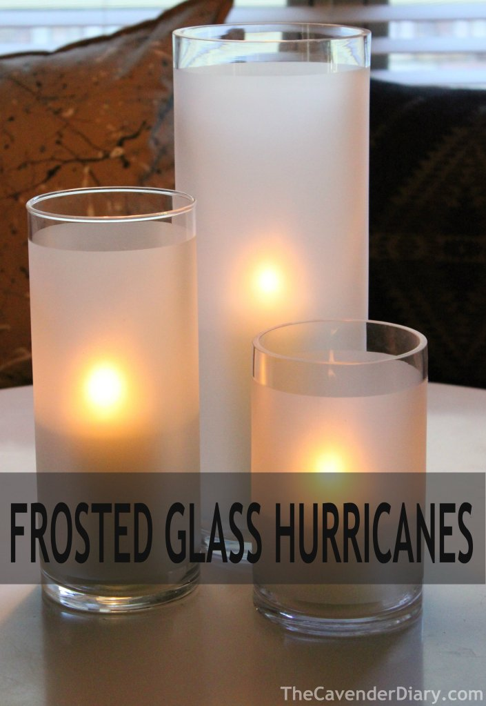 Frosted Glasss Hurricanes Made from Old Vases