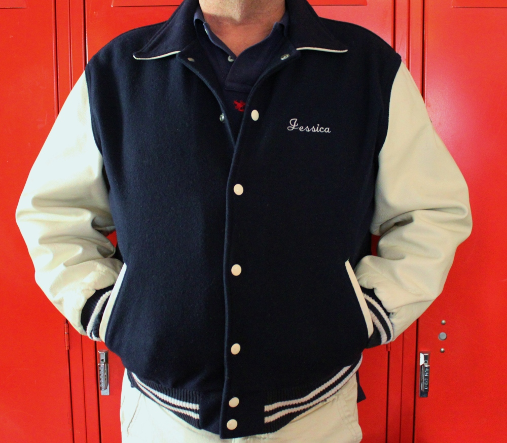 Jamie in the Varsity Jacket He Found