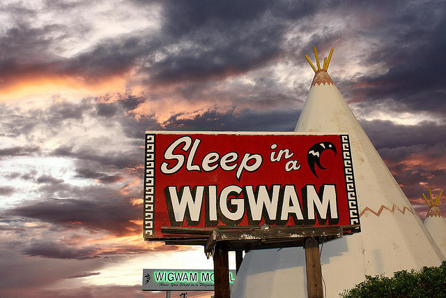 Sleep in a Wigwam Sign