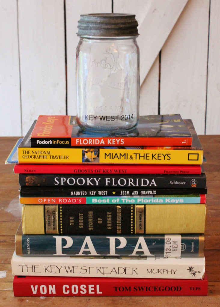 Key West Books and Vintage Jar Ready for Shells