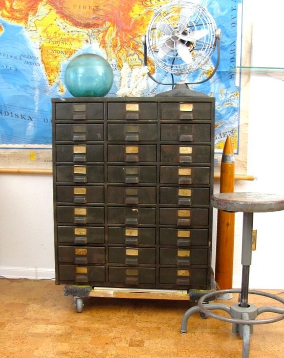Old Card Catalog in Front of Vintage School Chart