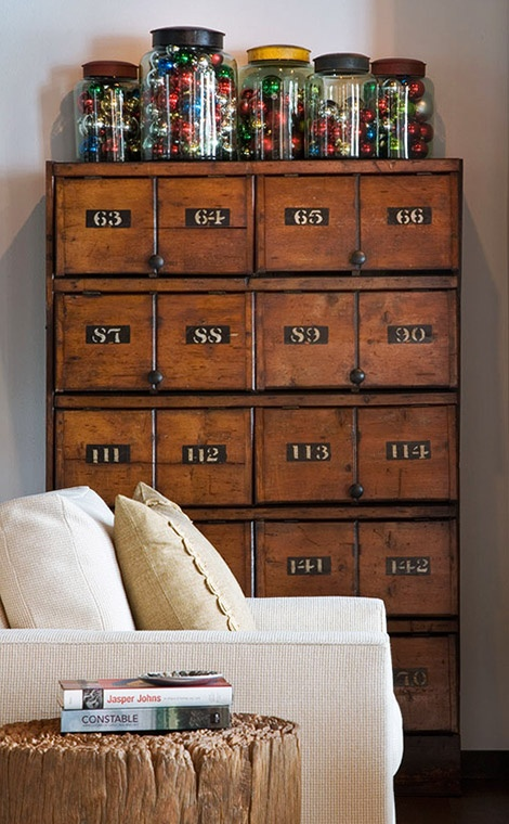 Vintage Card Catalog with Jars of Old Ornaments