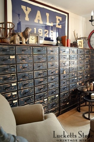 Wall of Vintage Card Catalog with Yale Banner