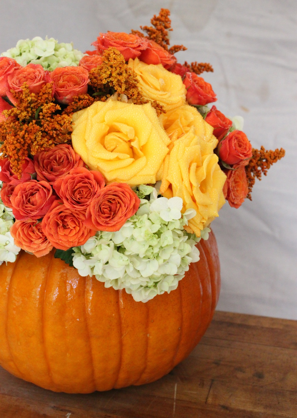 Arrangement in a Simple Store-Bought Pumpkin