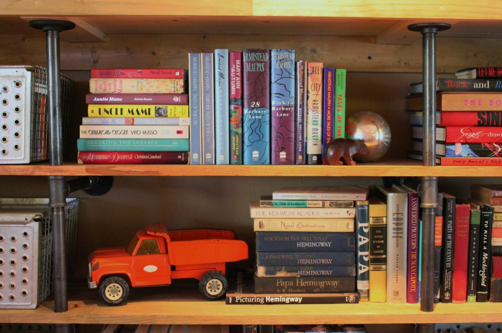 Books on the Plumbing Pipe Shelves in the Cavender Living Room