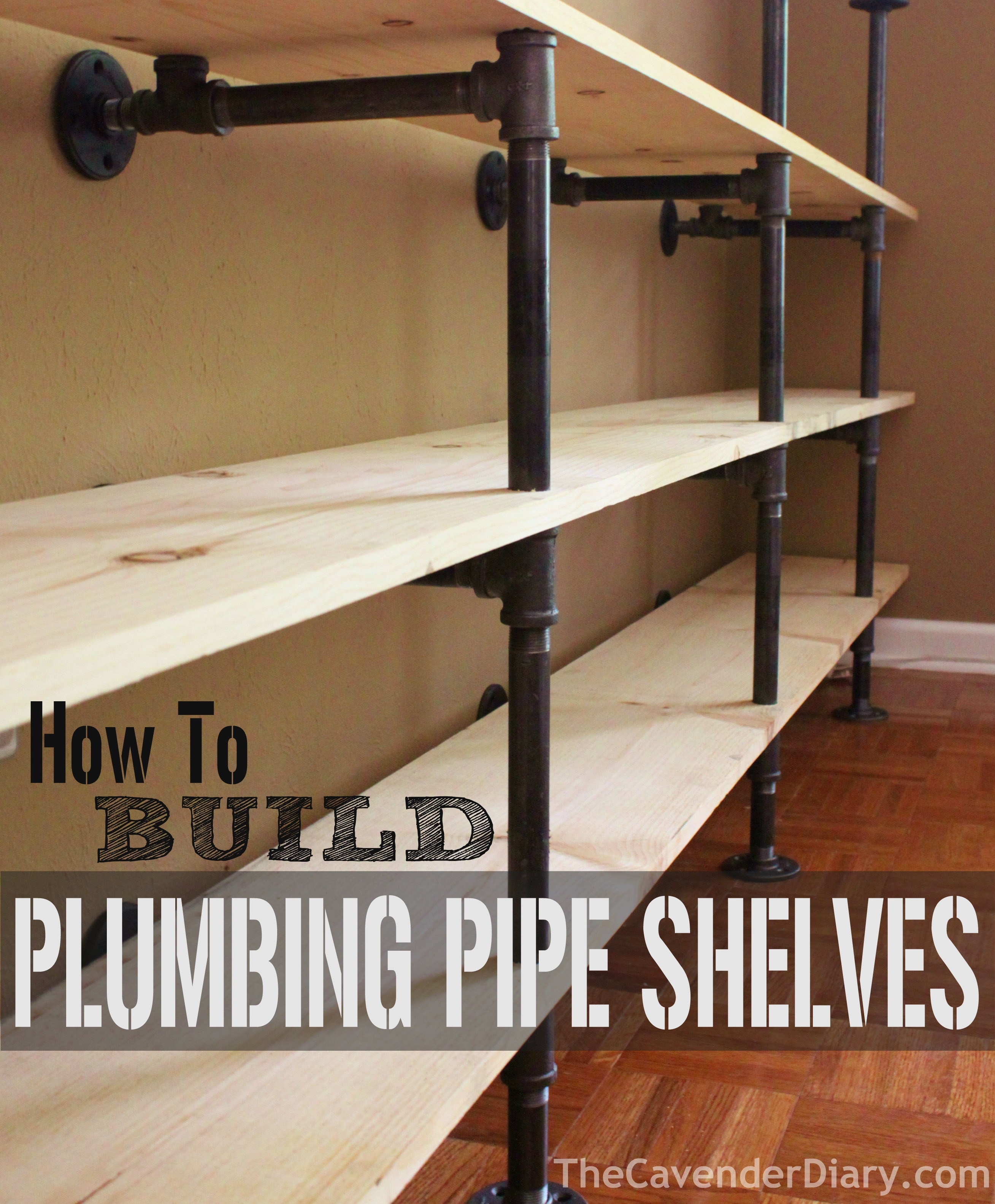 how to build plumbing pipe shelves the cavender diary. Black Bedroom Furniture Sets. Home Design Ideas
