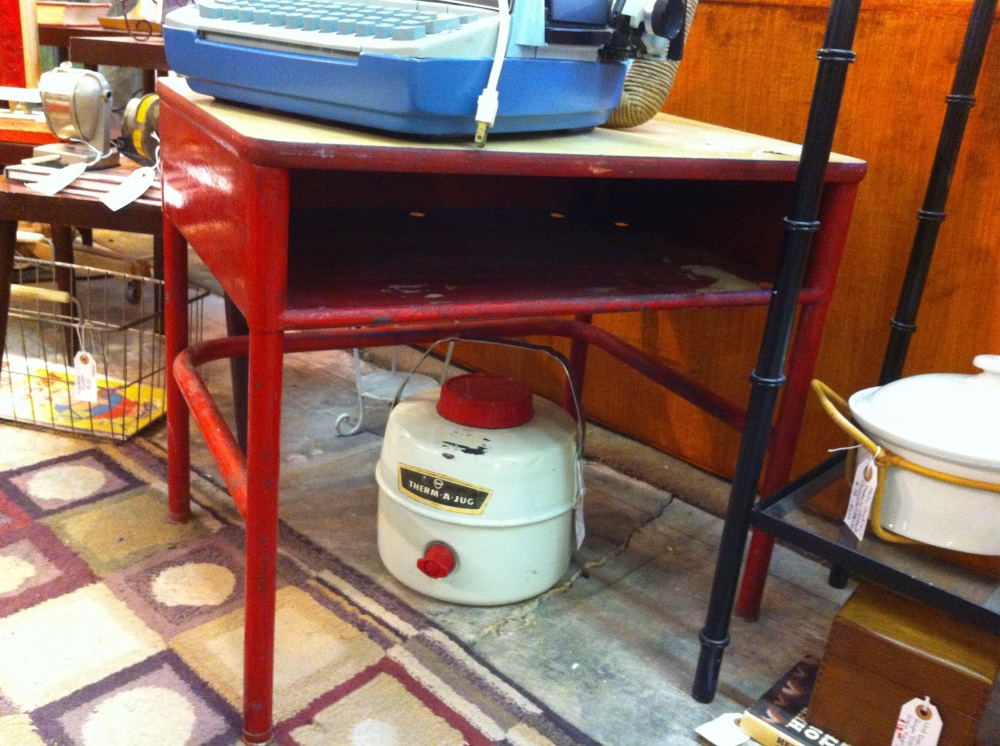 Painted Red Elementary Shcool Desk