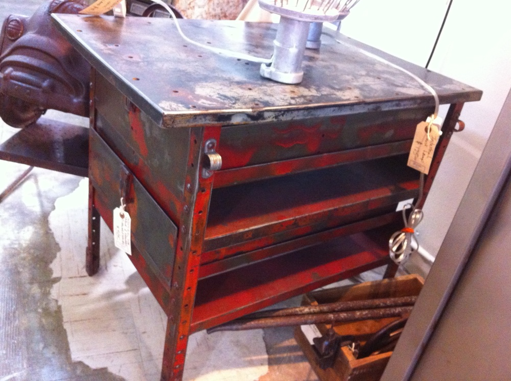 Red Industrial Metal Table with Drawers