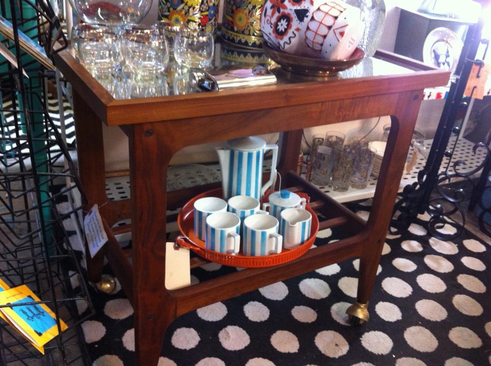 Teak Mid-Century Mirrored Side Table