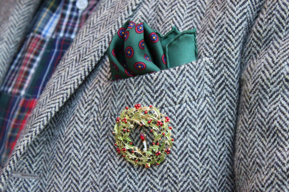 Dime Store Christmas Pin on Tweed Jacket