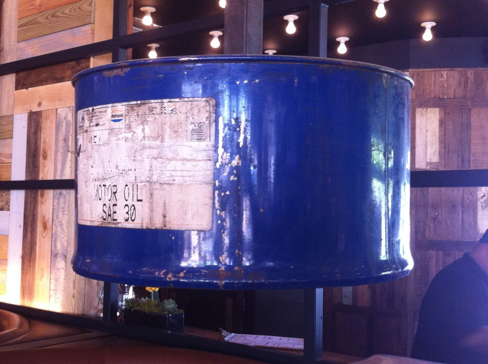 Motor Oil Drum Turned Pendant Light at the Rustic