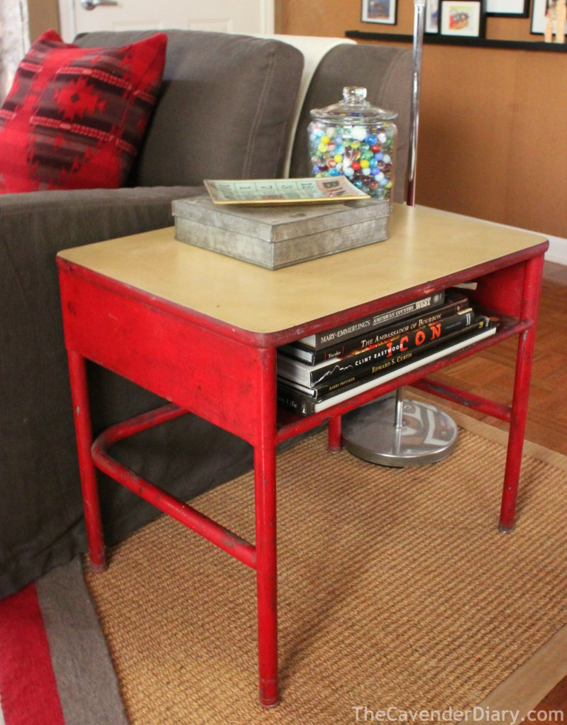 New Old Red School Desk Turned Side Table in the Cavender Diary Living Room