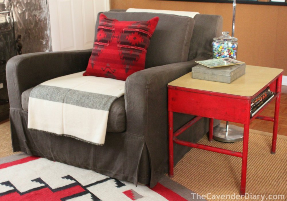 Slipcovered Chair with Red School Desk as Side Table