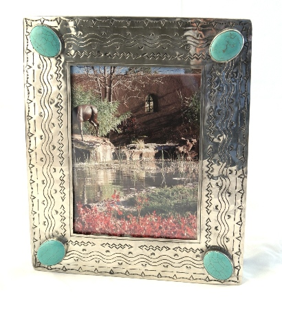8 X 10 Stamped Navajo Style Silver Picture Frame