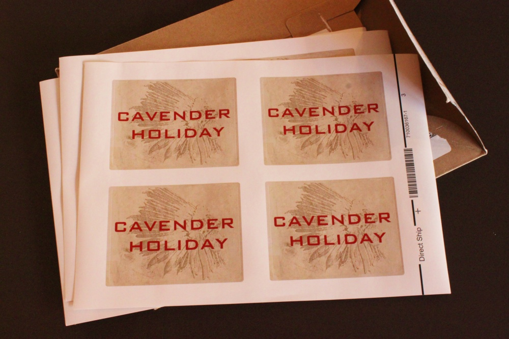 Cavender Holiday Candle Labels from Vista Print