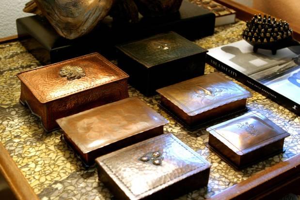 Copper Boxes in Jason Lenox's Oak Cliff Living Room